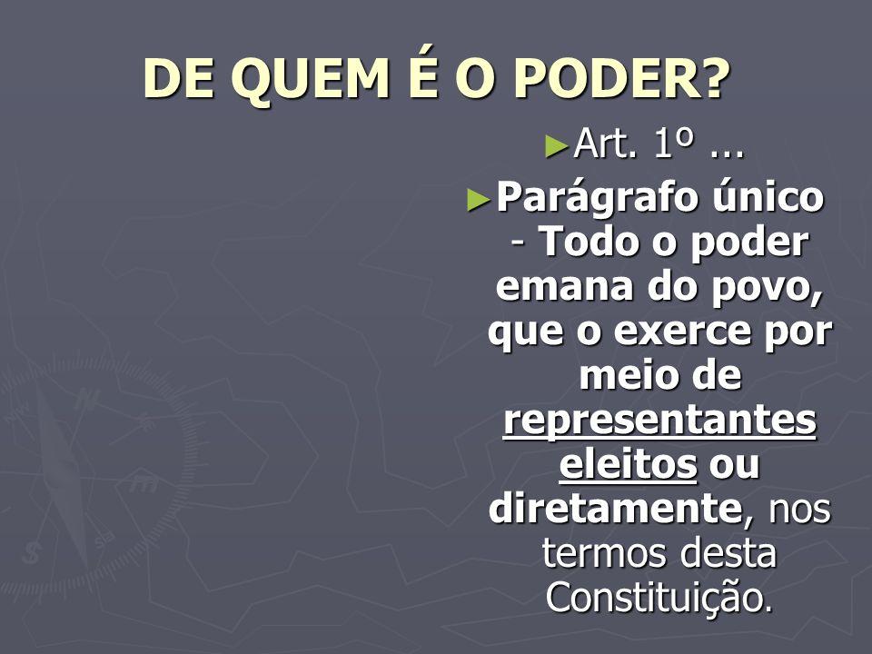 DE QUEM É O PODER Art. 1º ...