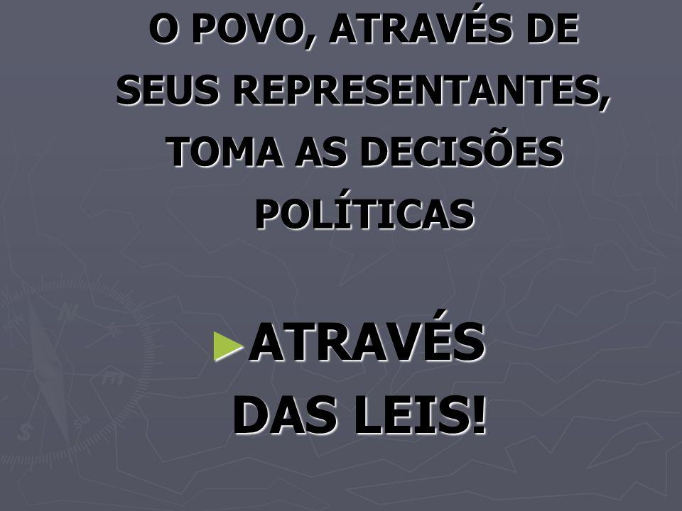 O POVO, ATRAVÉS DE SEUS REPRESENTANTES, TOMA AS DECISÕES POLÍTICAS