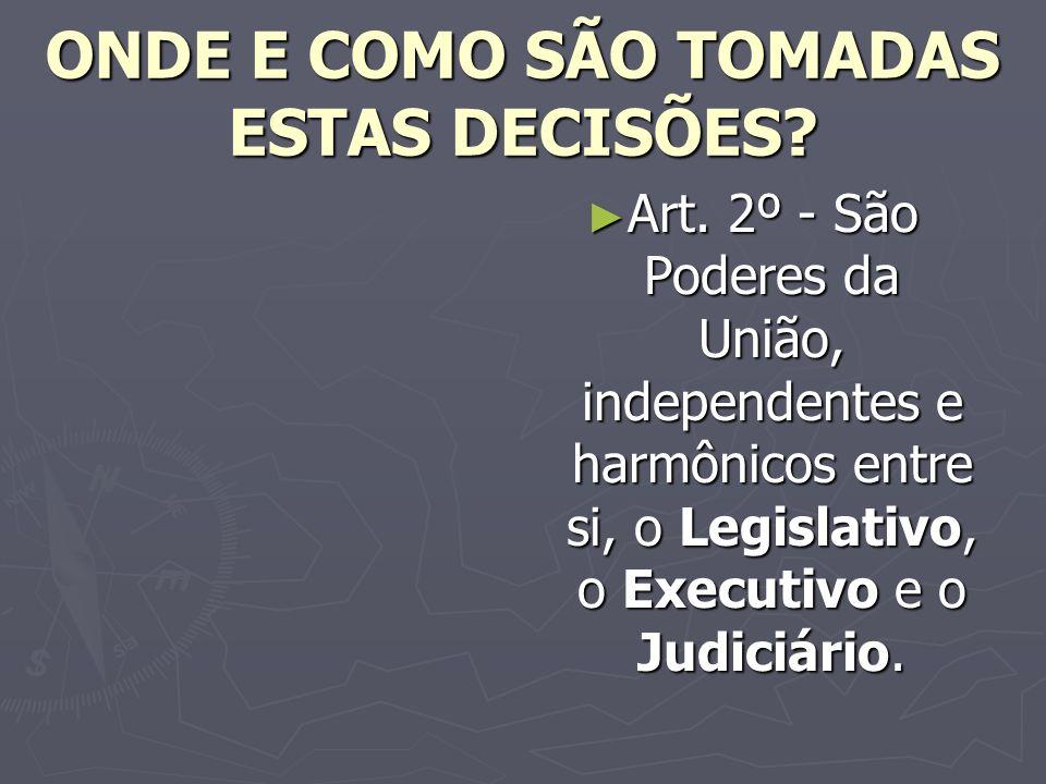 ONDE E COMO SÃO TOMADAS ESTAS DECISÕES