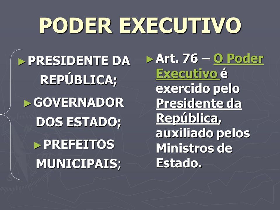 PRESIDENTE DA REPÚBLICA; GOVERNADOR DOS ESTADO;