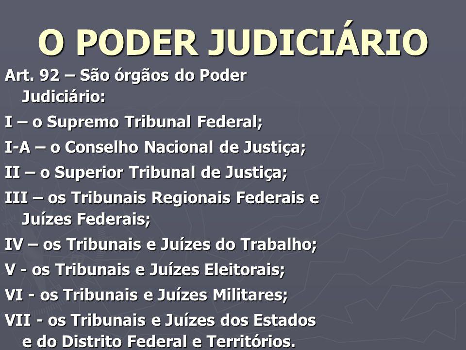 O PODER JUDICIÁRIO Art. 92 – São órgãos do Poder Judiciário: