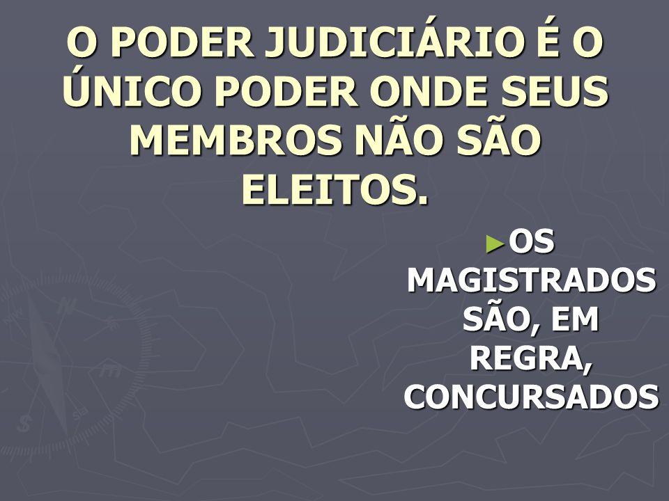 O PODER JUDICIÁRIO É O ÚNICO PODER ONDE SEUS MEMBROS NÃO SÃO ELEITOS.
