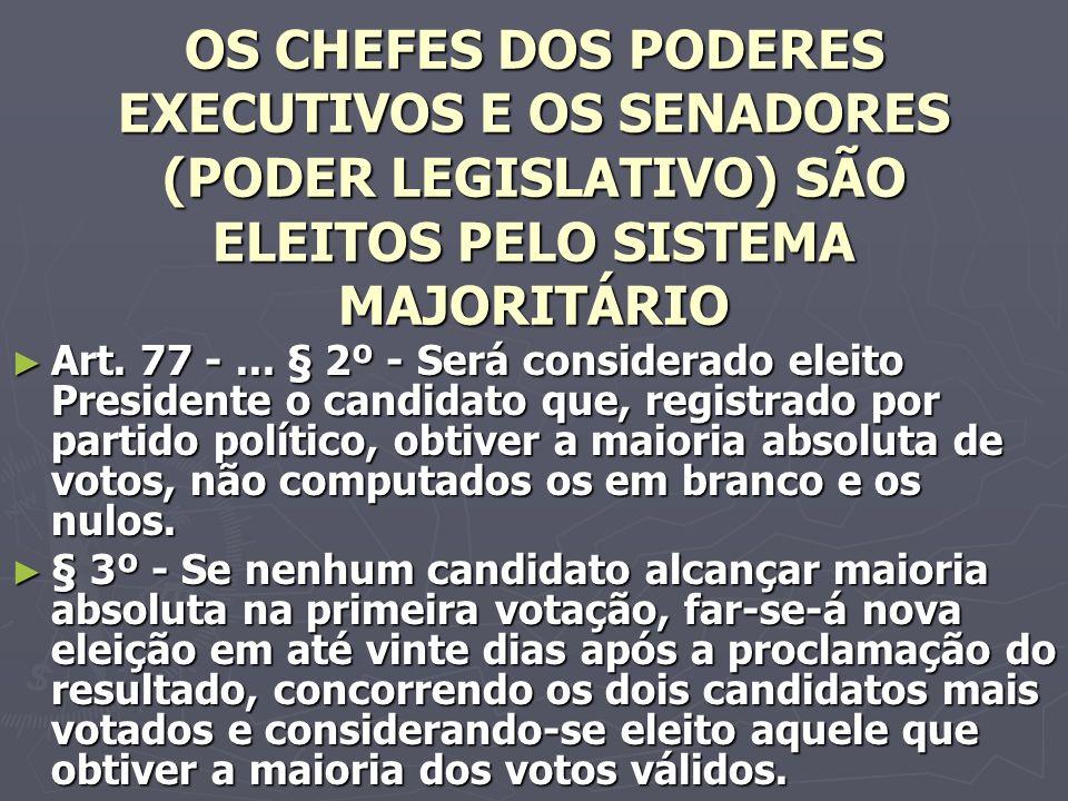 OS CHEFES DOS PODERES EXECUTIVOS E OS SENADORES (PODER LEGISLATIVO) SÃO ELEITOS PELO SISTEMA MAJORITÁRIO