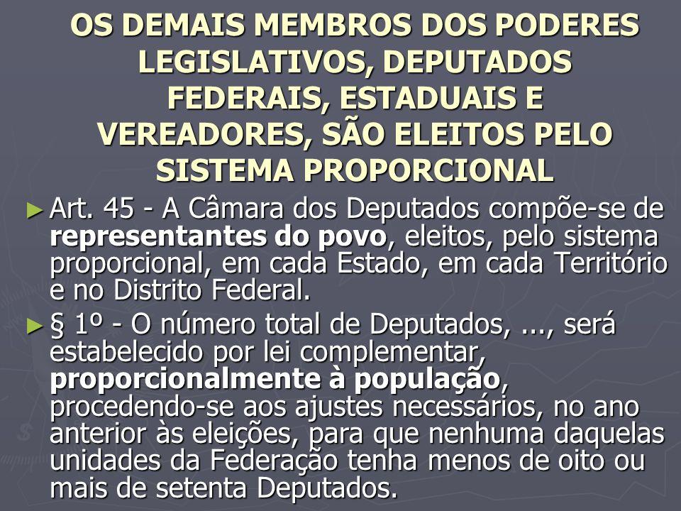 OS DEMAIS MEMBROS DOS PODERES LEGISLATIVOS, DEPUTADOS FEDERAIS, ESTADUAIS E VEREADORES, SÃO ELEITOS PELO SISTEMA PROPORCIONAL