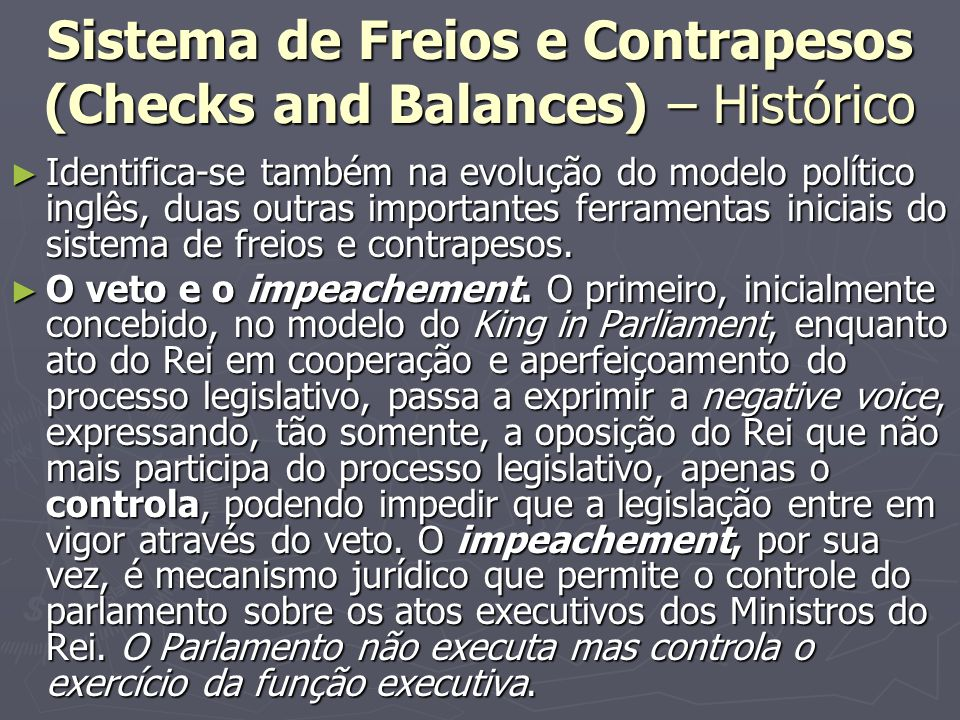 Sistema de Freios e Contrapesos (Checks and Balances) – Histórico