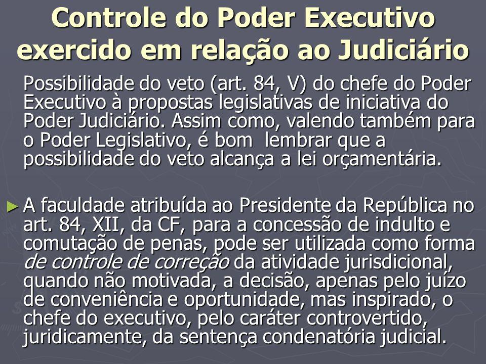 Controle do Poder Executivo exercido em relação ao Judiciário