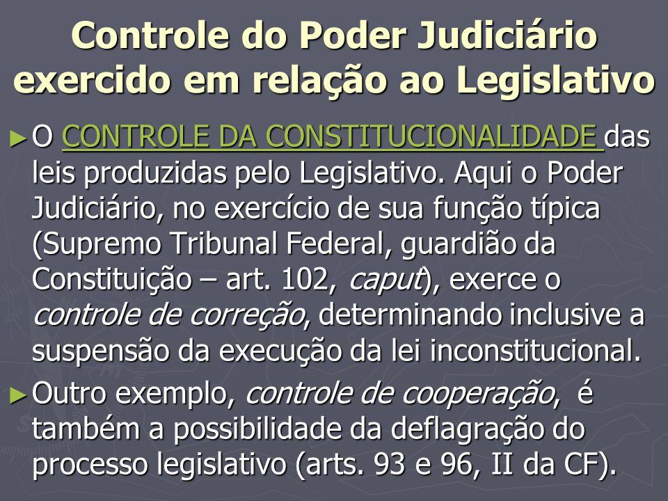 Controle do Poder Judiciário exercido em relação ao Legislativo