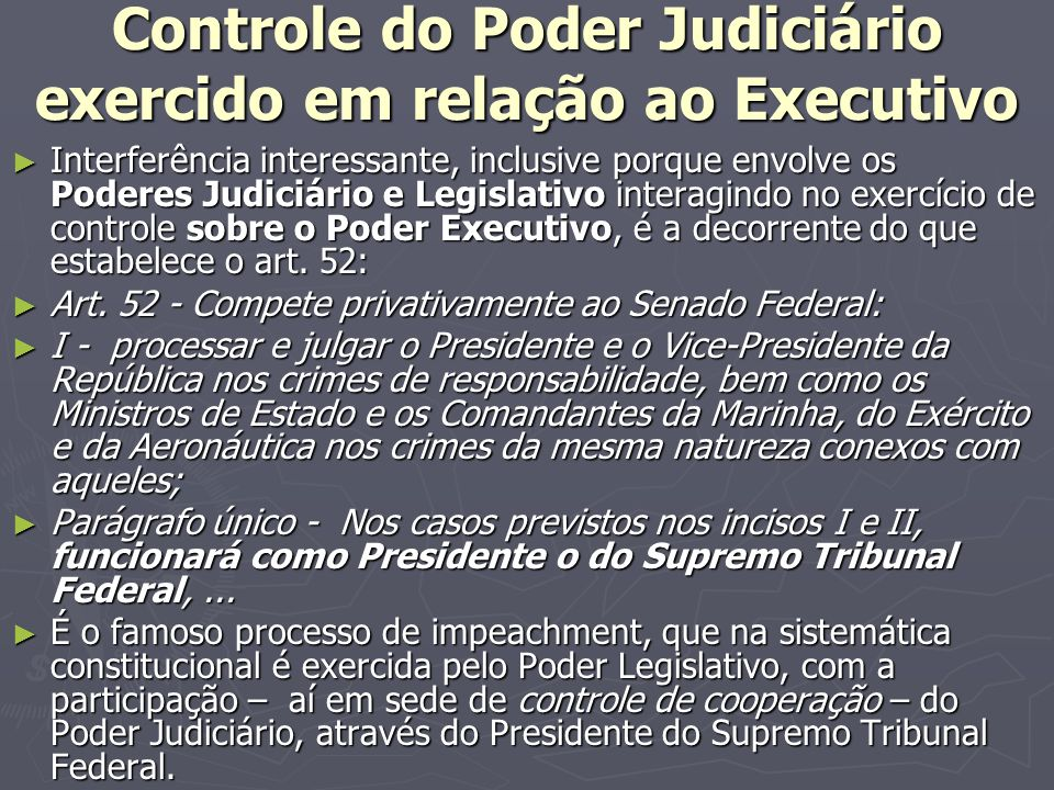 Controle do Poder Judiciário exercido em relação ao Executivo
