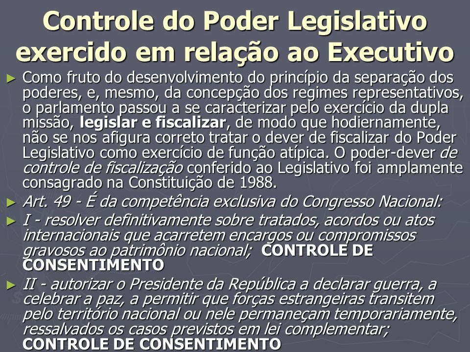 Controle do Poder Legislativo exercido em relação ao Executivo