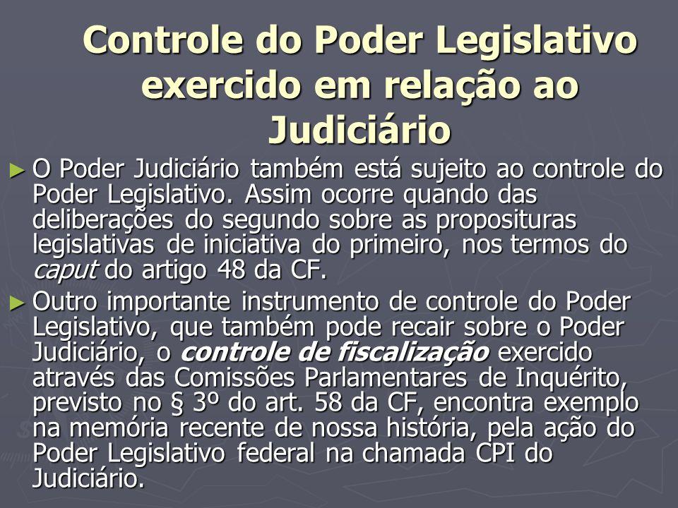 Controle do Poder Legislativo exercido em relação ao Judiciário