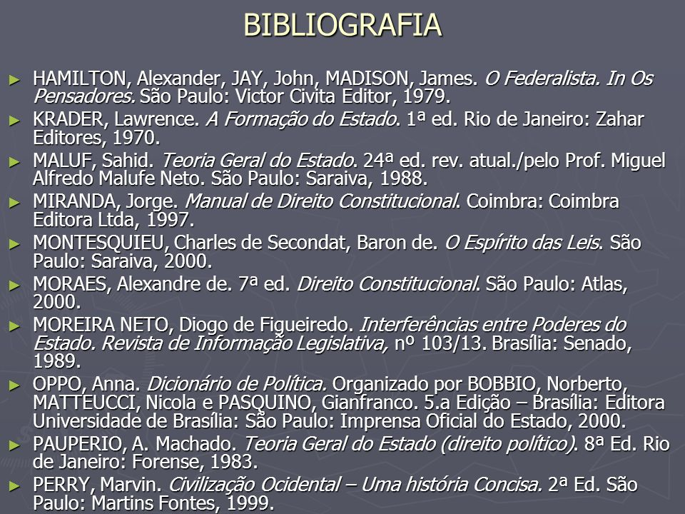 BIBLIOGRAFIA HAMILTON, Alexander, JAY, John, MADISON, James. O Federalista. In Os Pensadores. São Paulo: Victor Civita Editor, 1979.