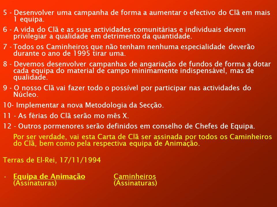 5 - Desenvolver uma campanha de forma a aumentar o efectivo do Clã em mais 1 equipa.