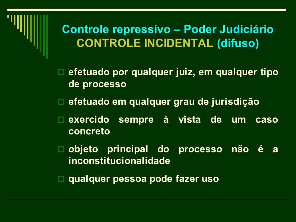 Controle repressivo – Poder Judiciário CONTROLE INCIDENTAL (difuso)