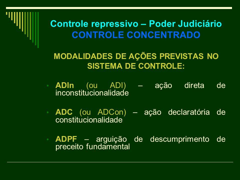 Controle repressivo – Poder Judiciário CONTROLE CONCENTRADO