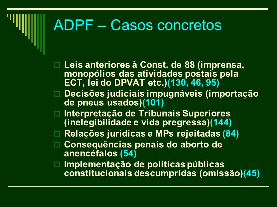 ADPF – Casos concretos Leis anteriores à Const. de 88 (imprensa, monopólios das atividades postais pela ECT, lei do DPVAT etc.)(130, 46, 95)