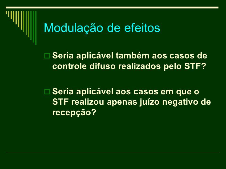 Modulação de efeitos Seria aplicável também aos casos de controle difuso realizados pelo STF