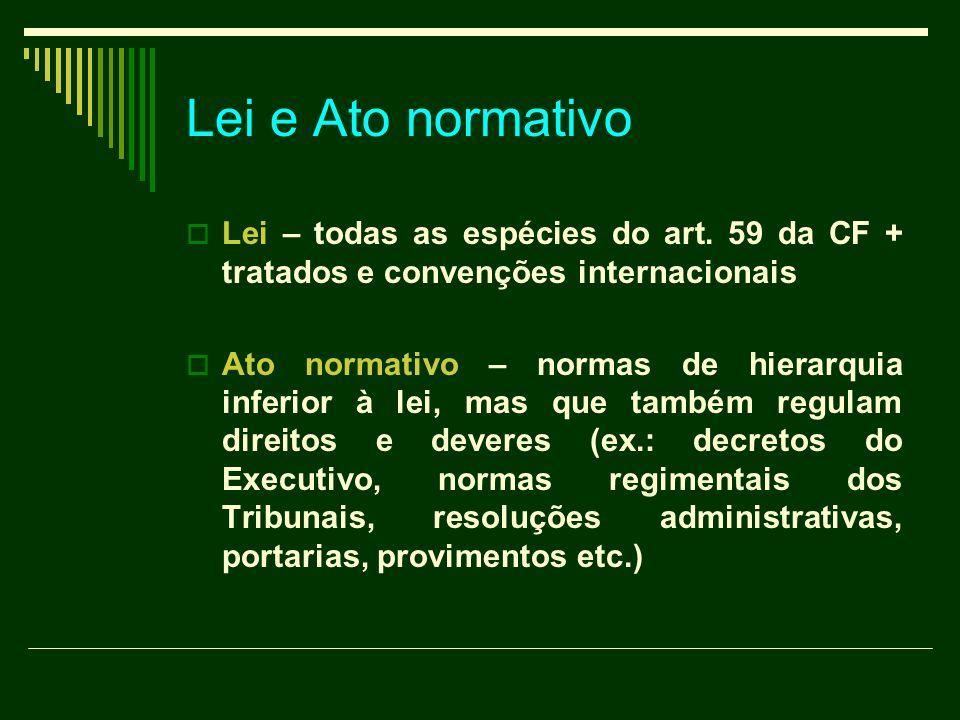 Lei e Ato normativo Lei – todas as espécies do art. 59 da CF + tratados e convenções internacionais.