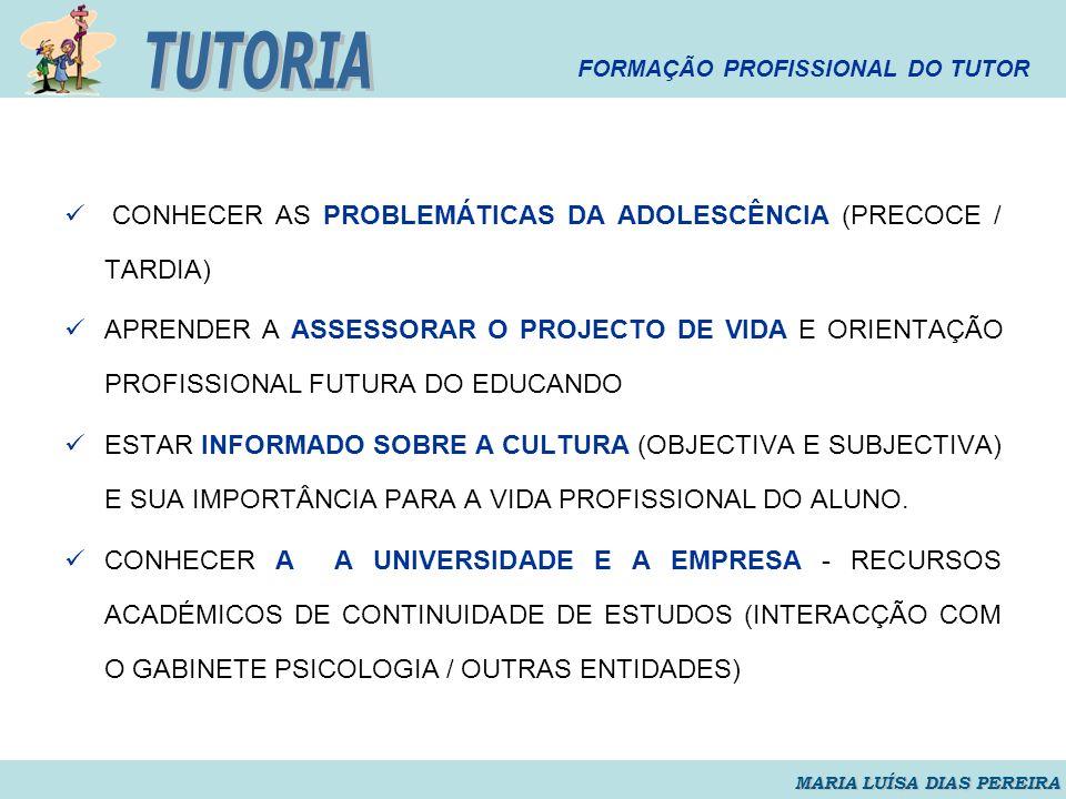 TUTORIA CONHECER AS PROBLEMÁTICAS DA ADOLESCÊNCIA (PRECOCE / TARDIA)