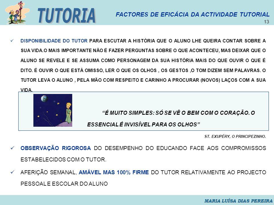 TUTORIA FACTORES DE EFICÁCIA DA ACTIVIDADE TUTORIAL