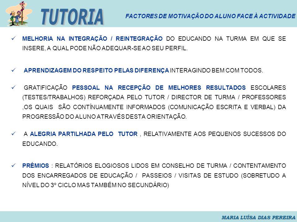 TUTORIA FACTORES DE MOTIVAÇÃO DO ALUNO FACE À ACTIVIDADE