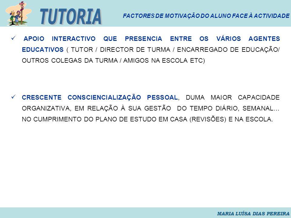 TUTORIA FACTORES DE MOTIVAÇÃO DO ALUNO FACE À ACTIVIDADE.