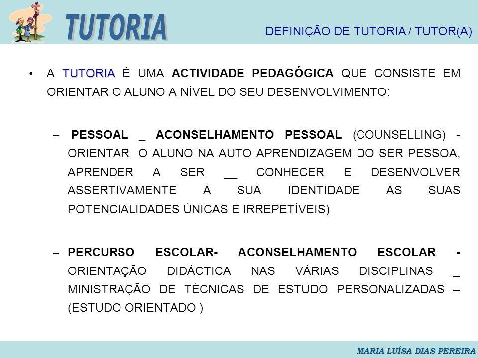 TUTORIA DEFINIÇÃO DE TUTORIA / TUTOR(A)