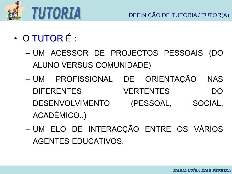 TUTORIA DEFINIÇÃO DE TUTORIA / TUTOR(A) O TUTOR É : UM ACESSOR DE PROJECTOS PESSOAIS (DO ALUNO VERSUS COMUNIDADE)