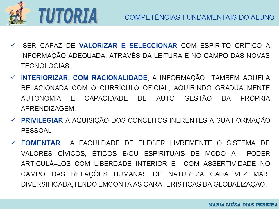 TUTORIA COMPETÊNCIAS FUNDAMENTAIS DO ALUNO