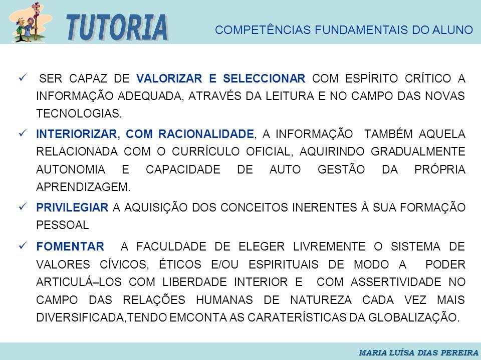 TUTORIA COMPETÊNCIAS FUNDAMENTAIS DO ALUNO