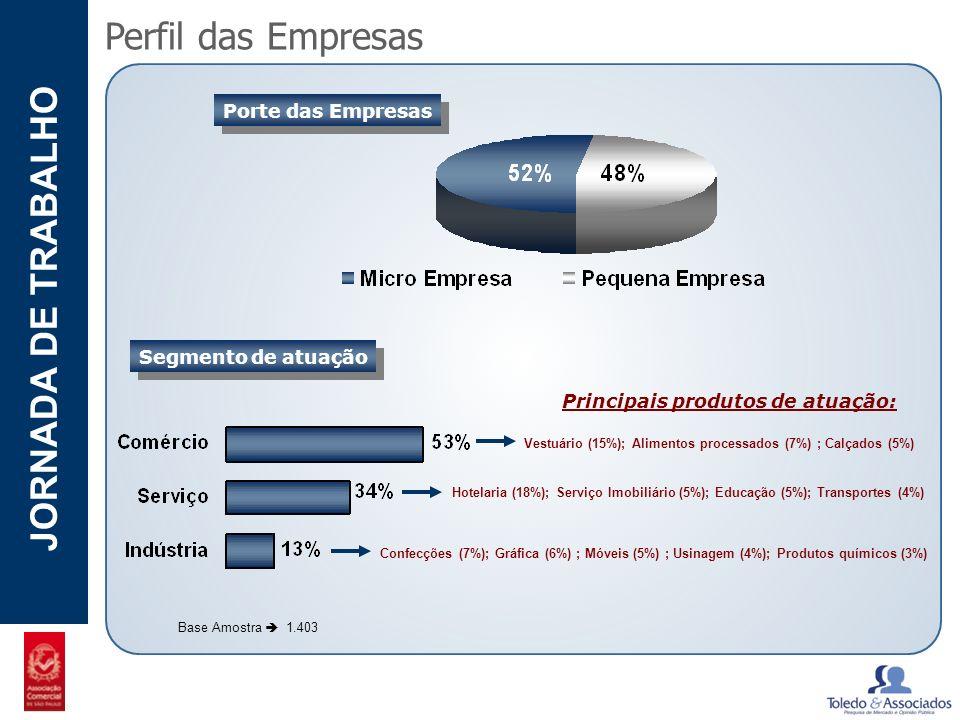 Perfil das Empresas Porte das Empresas Segmento de atuação