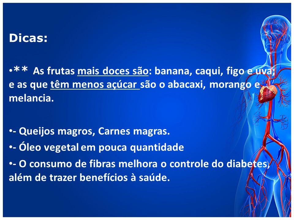 Dicas: ** As frutas mais doces são: banana, caqui, figo e uva; e as que têm menos açúcar são o abacaxi, morango e melancia.