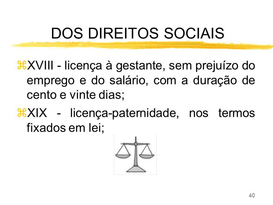DOS DIREITOS SOCIAIS XVIII - licença à gestante, sem prejuízo do emprego e do salário, com a duração de cento e vinte dias;