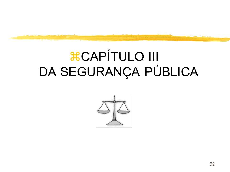 CAPÍTULO III DA SEGURANÇA PÚBLICA