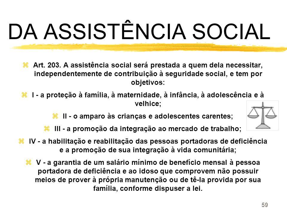 DA ASSISTÊNCIA SOCIAL