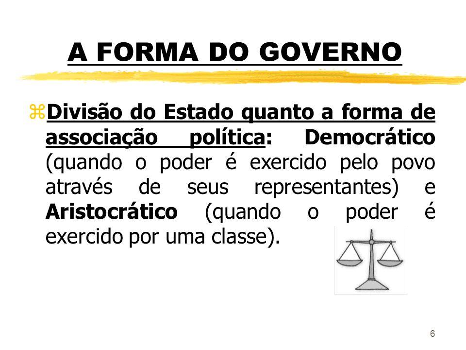 A FORMA DO GOVERNO