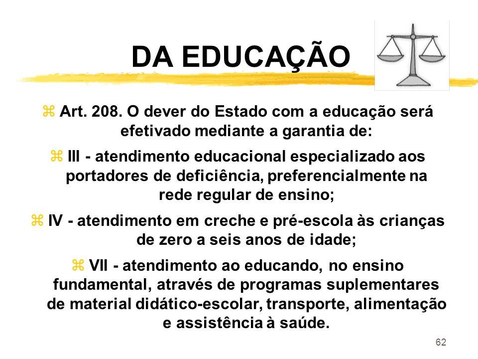 DA EDUCAÇÃO Art. 208. O dever do Estado com a educação será efetivado mediante a garantia de: