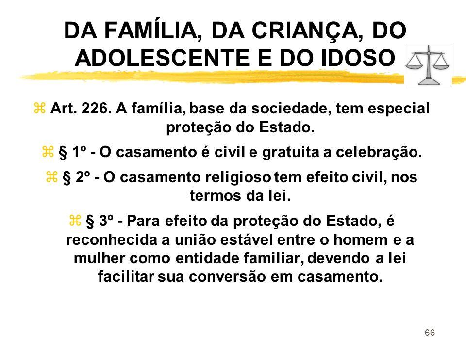 DA FAMÍLIA, DA CRIANÇA, DO ADOLESCENTE E DO IDOSO