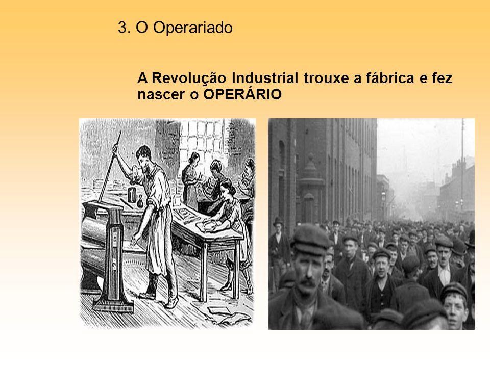 3. O Operariado A Revolução Industrial trouxe a fábrica e fez nascer o OPERÁRIO