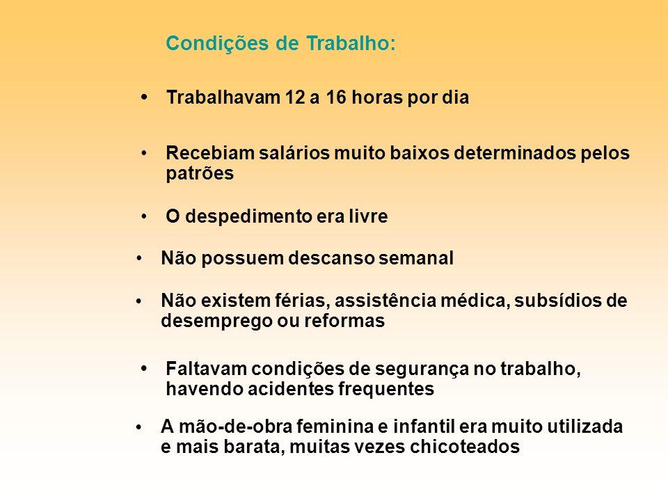 Condições de Trabalho: • Trabalhavam 12 a 16 horas por dia