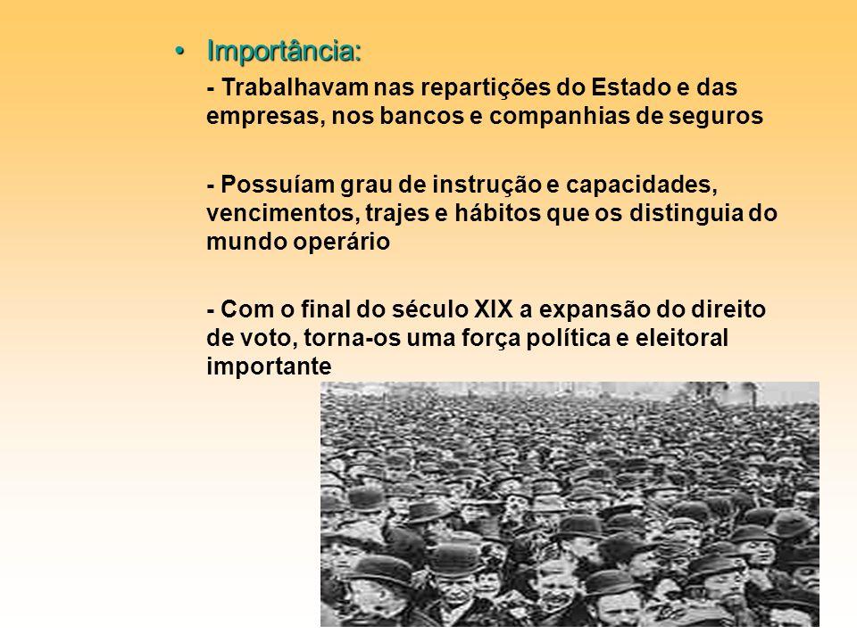 Importância: - Trabalhavam nas repartições do Estado e das empresas, nos bancos e companhias de seguros.