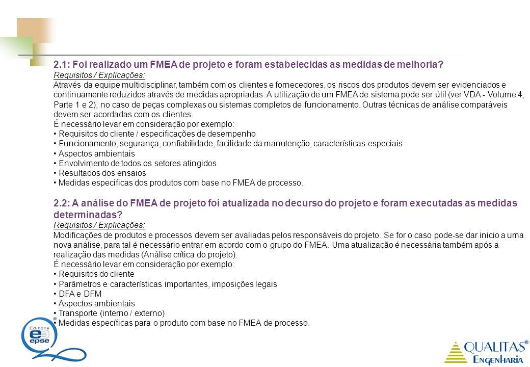 2.1: Foi realizado um FMEA de projeto e foram estabelecidas as medidas de melhoria