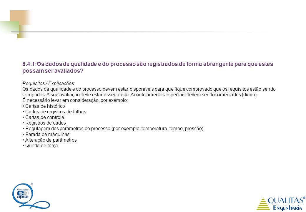 6.4.1:Os dados da qualidade e do processo são registrados de forma abrangente para que estes possam ser avaliados