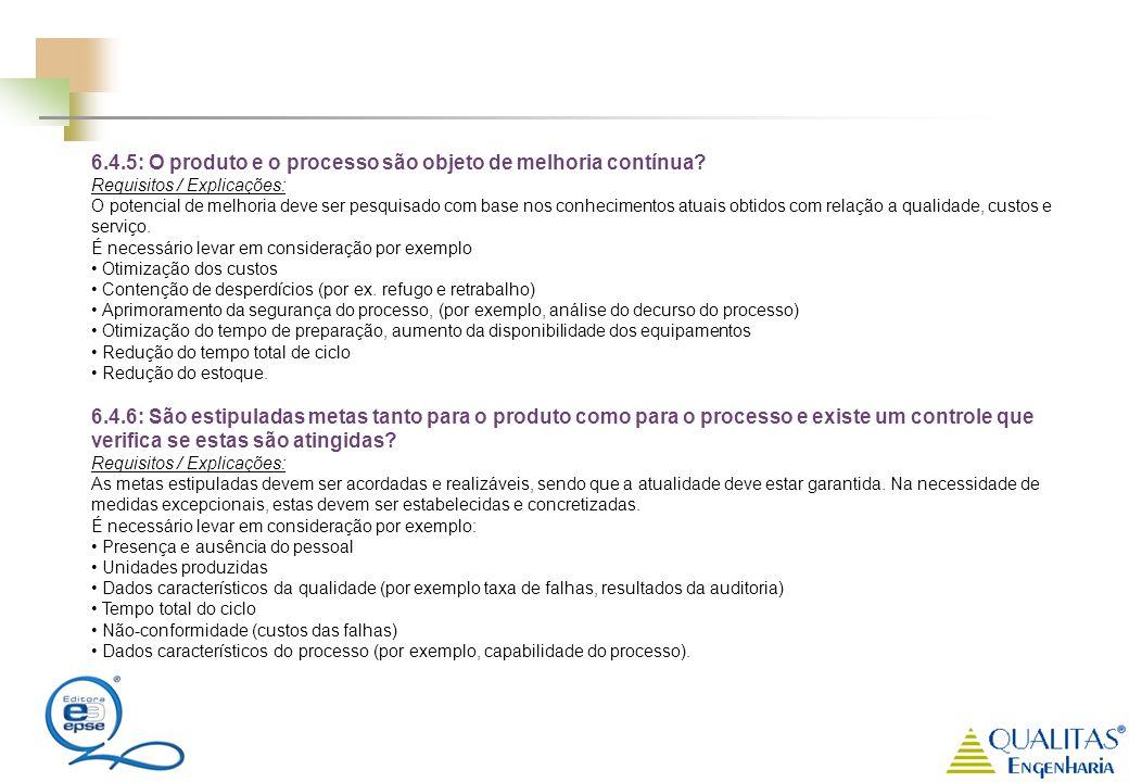 6.4.5: O produto e o processo são objeto de melhoria contínua