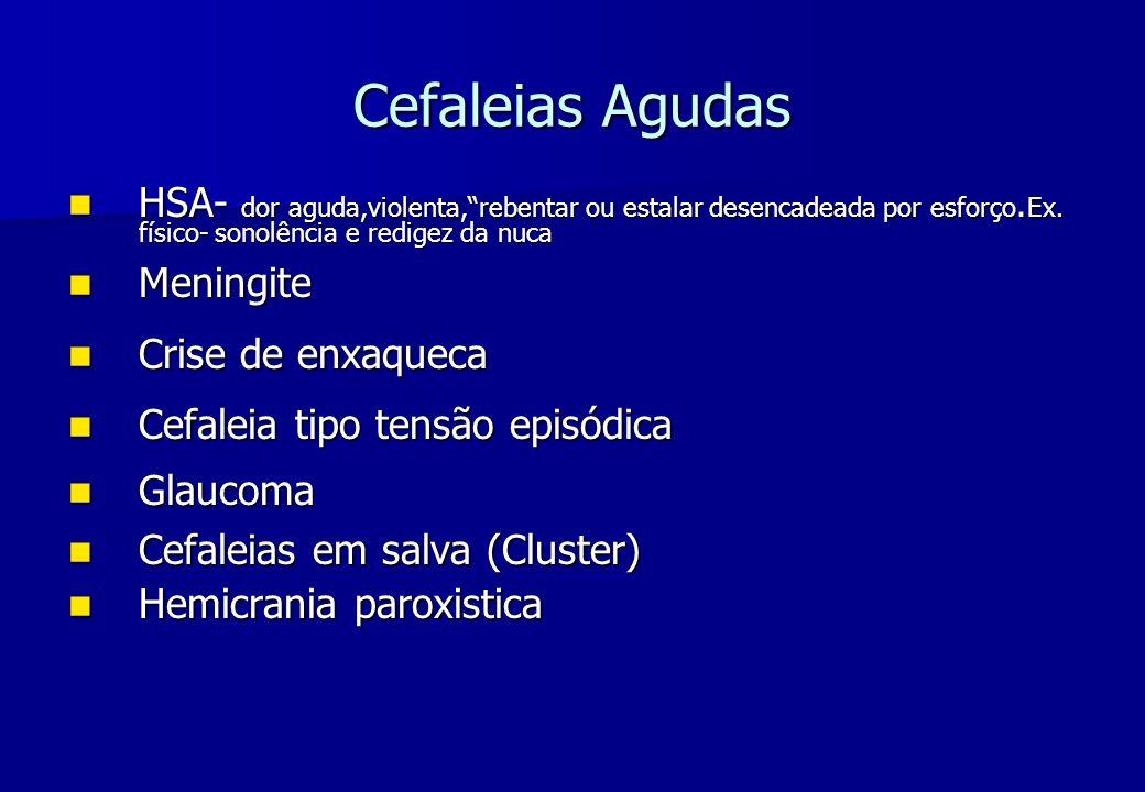 Cefaleias Agudas HSA- dor aguda,violenta, rebentar ou estalar desencadeada por esforço.Ex. físico- sonolência e redigez da nuca.