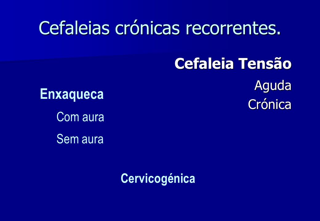 Cefaleias crónicas recorrentes.