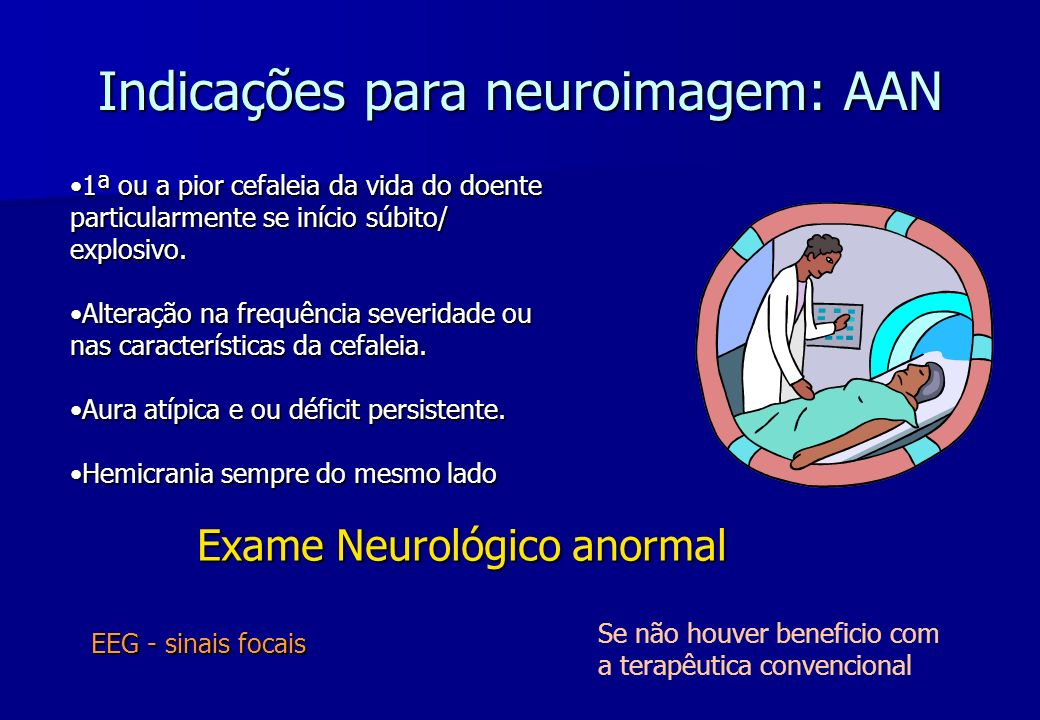 Indicações para neuroimagem: AAN