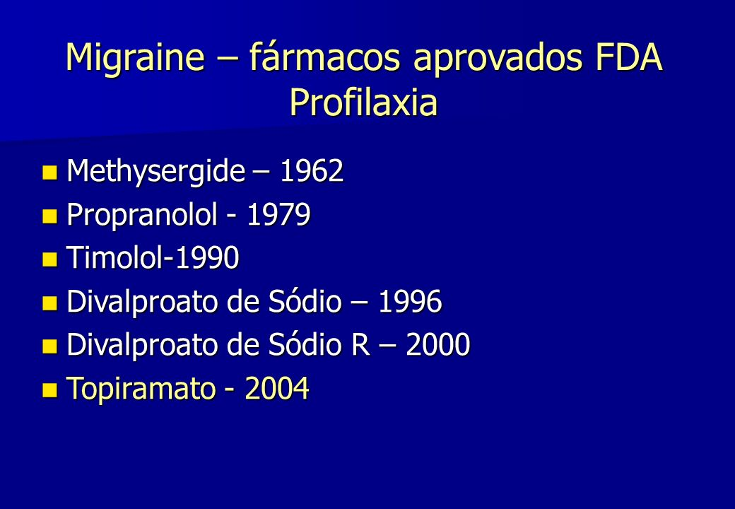 Migraine – fármacos aprovados FDA Profilaxia
