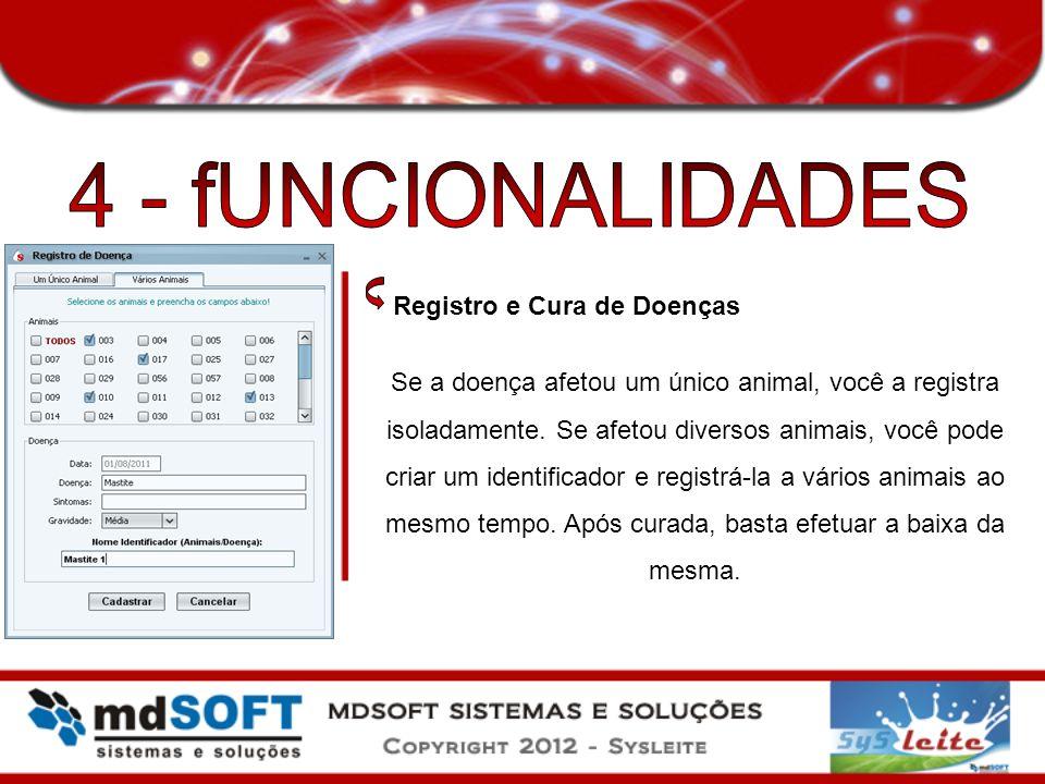 4 - fUNCIONALIDADES Registro e Cura de Doenças