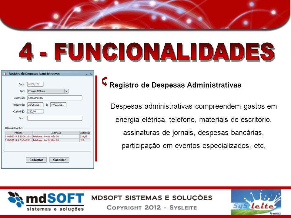 4 - FUNCIONALIDADES Registro de Despesas Administrativas