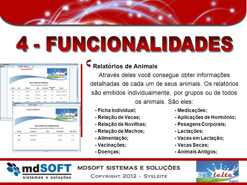 4 - FUNCIONALIDADES Relatórios de Animais
